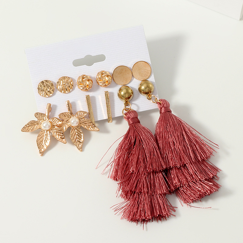 Earrings, Jewellery, Accessories, Nine Box, Nine Box, Deep Rose Tassel Earrings Set of 6