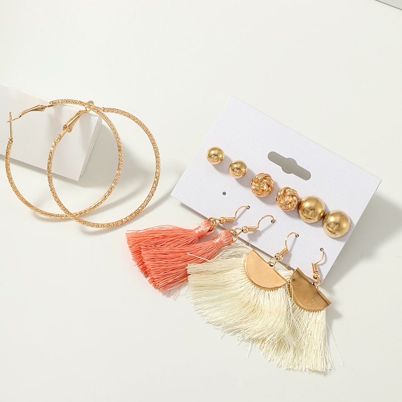 Earrings, Jewellery, Accessories, Nine Box, Nine Box, Coral and White Tassel Set