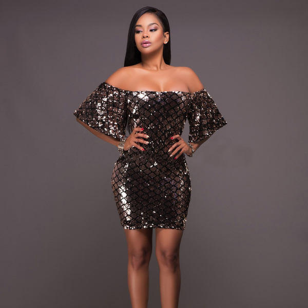 Dresses, Pre-Order, Nine Box, Gold Geomteric Sequin Off Shoulder Dress