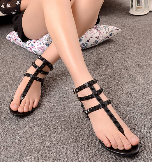 Shoes, Pre-Order, Nine Box, Black Rivet Gladiator Sandals