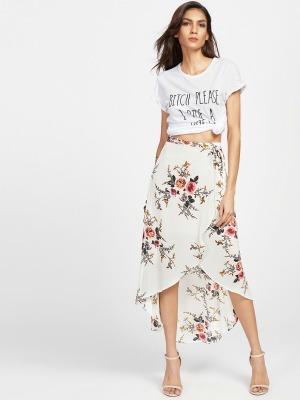 Skirts/Bottoms, Pre-Order, Nine Box, Floral Print Dip Hem Wrap Skirt