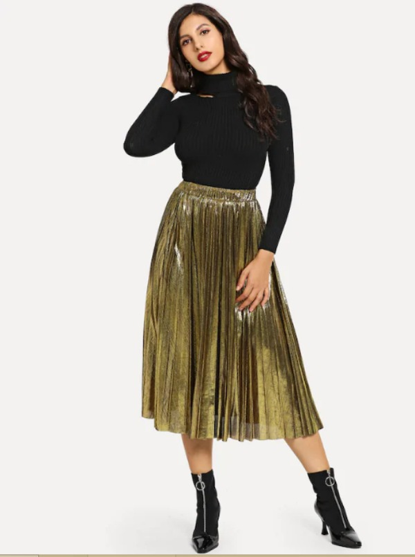 Skirts/Bottoms, Pre-Order, Nine Box, Gold Pleated Metallic Skirt
