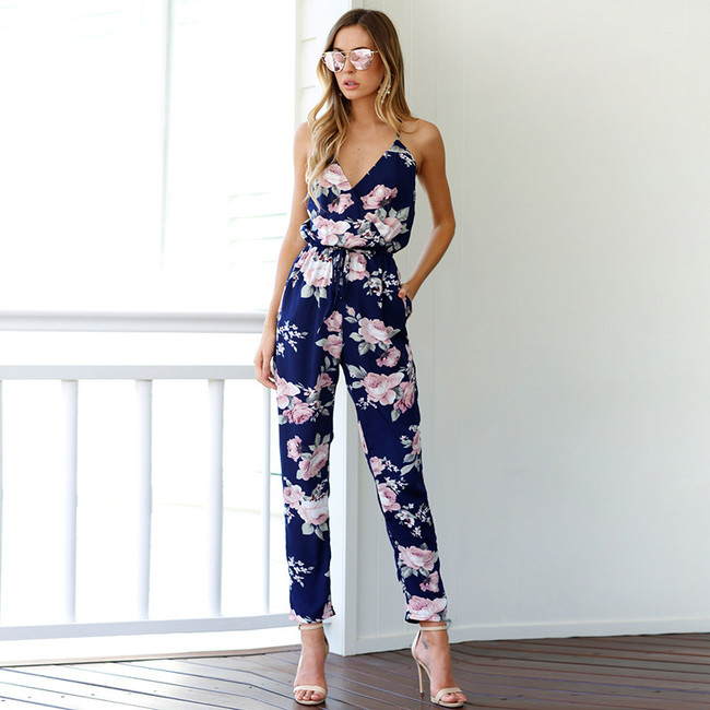 Jumpsuits, Pre-Order, Nine Box, Floral Printed Criss Cross Back Jumpsuit