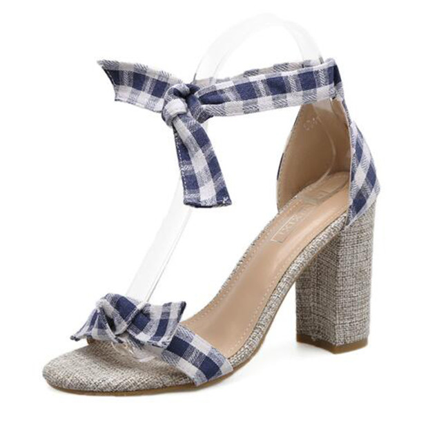 Shoes, Pre-Order, Nine Box, Bow-Knot Gingahm Print block Heels