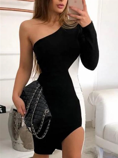 Dresses, Pre-Order, Nine Box, Black and White One Shoulder Dress