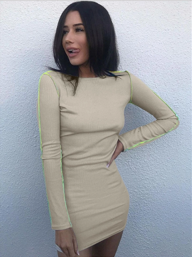 Dresses, Pre-Order, Nine Box, Nude Bodycon Dress with Neon Edges