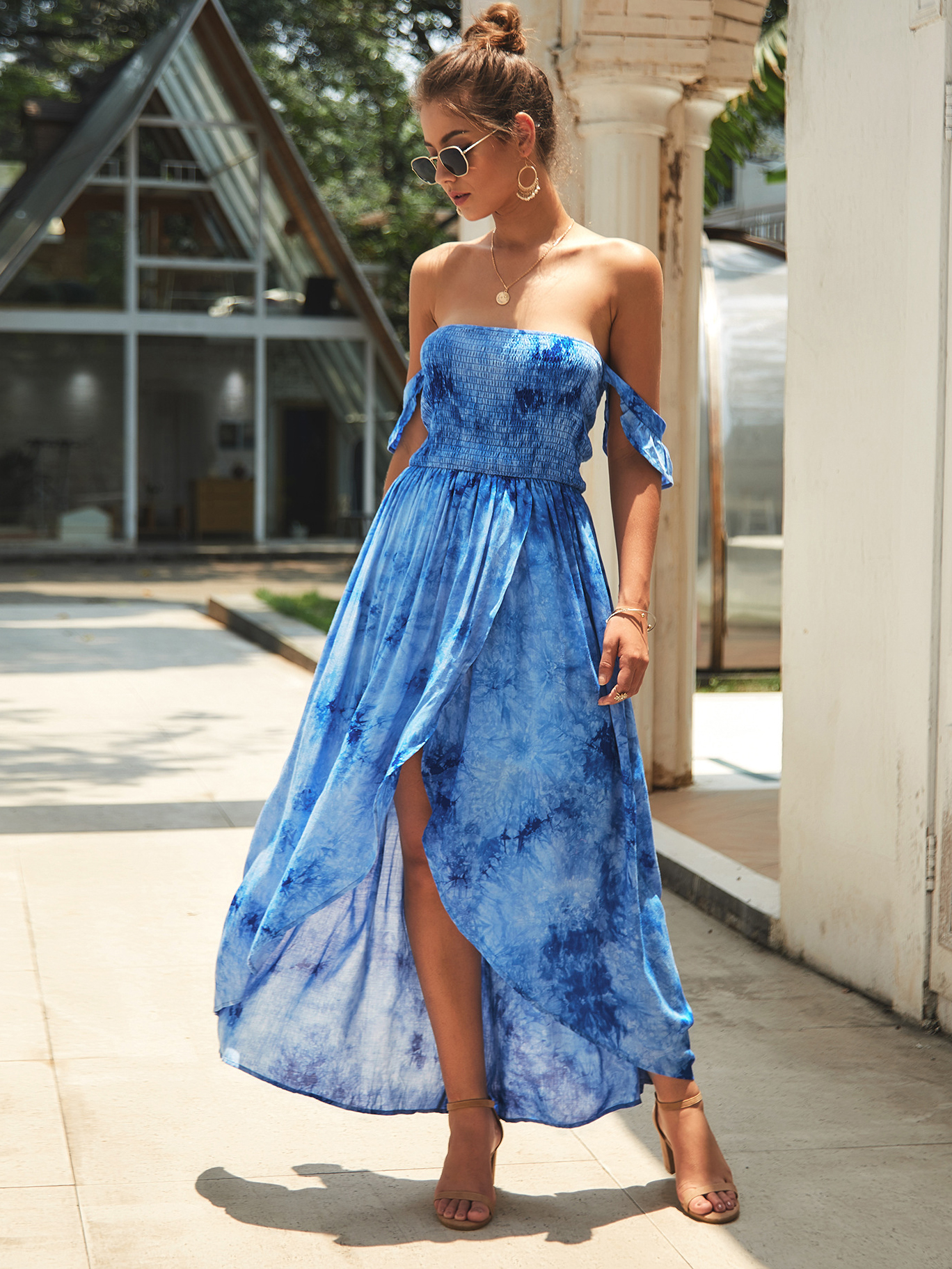 Dresses, Pre-Order, Nine Box, Tie-Dye Blue Off Shoulder Maxi Dress