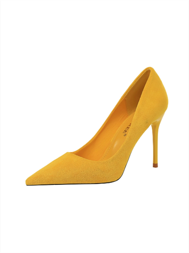 Shoes, Pre-Order, Nine Box, Mustard Yellow Suede Pumps