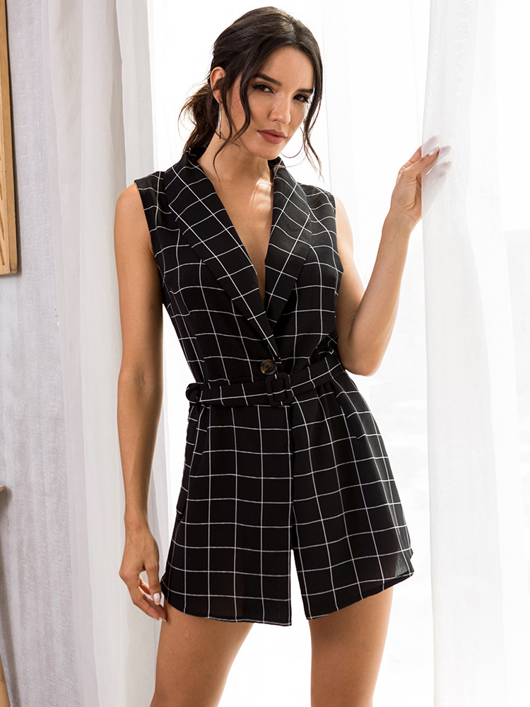 Dresses, Pre-Order, Nine Box, Black and White Plaid Sleeveless Blazer Dress