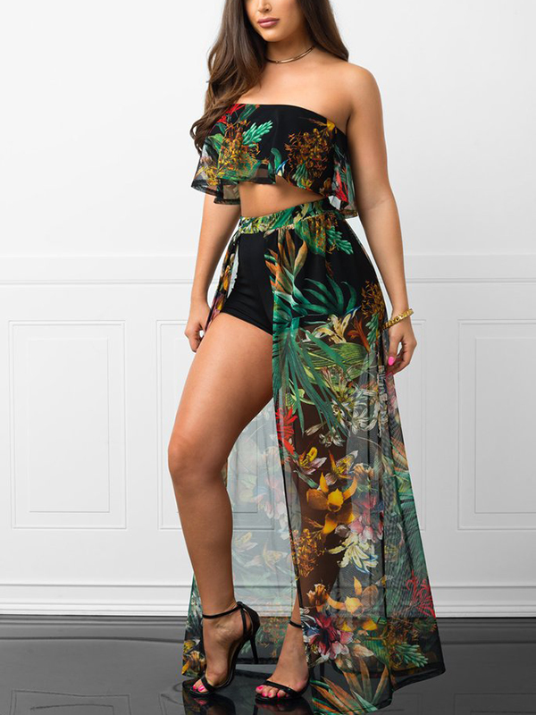 Jumpsuits, Pre-Order, Nine Box, Tropical Print Crop Top with Skirt