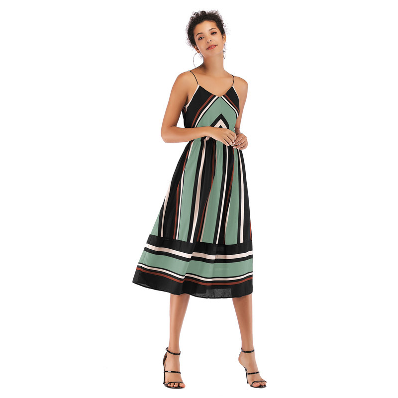 Dresses, Pre-Order, Nine Box, Black and Green Striped Summer Dress