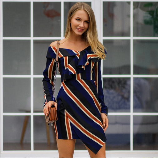 Dresses, Pre-Order, Nine Box, Blue Striped Asymmetrical Off Shoulder Dress