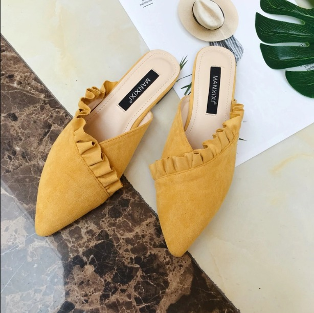 Shoes, Pre-Order, Nine Box, Mustard Ruffle Mules
