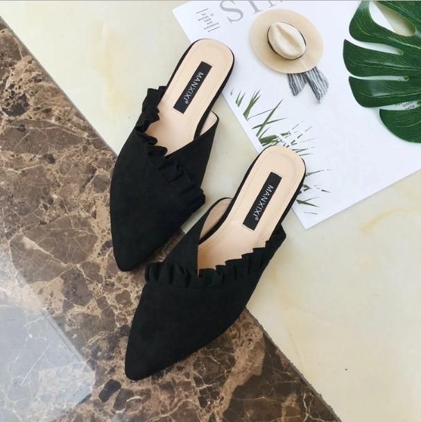 Shoes, Pre-Order, Nine Box, Black Ruffle Mules