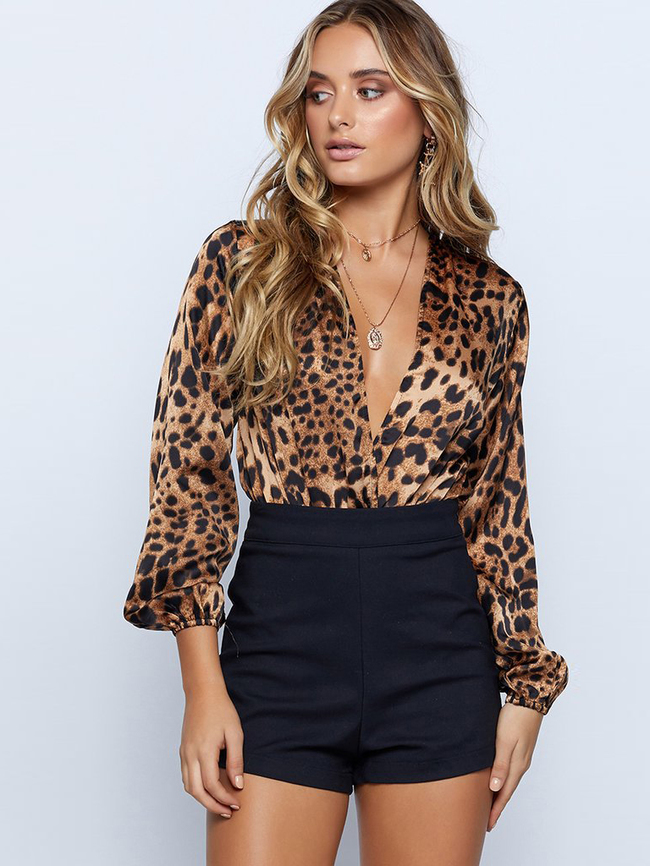 Tops, Pre-Order, Nine Box, Leopard Print Plunging Neck Bodysuit
