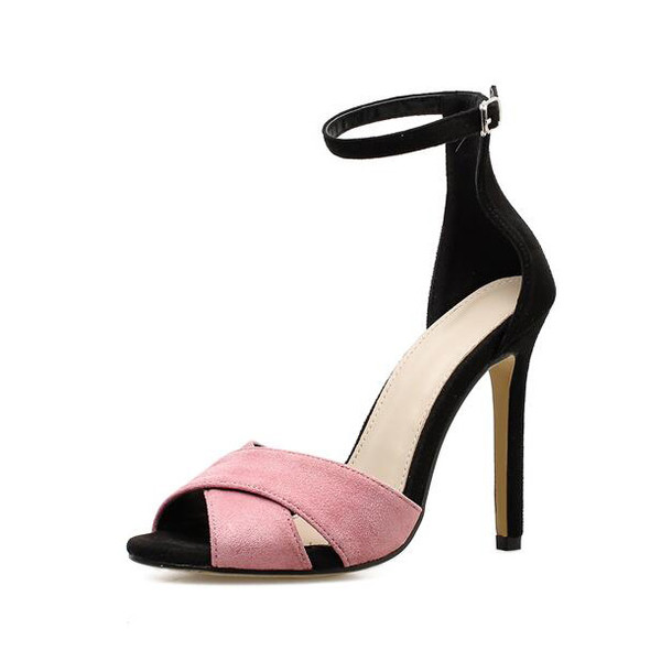 Shoes, Pre-Order, Nine Box, Pink and Black Open Toe Heels