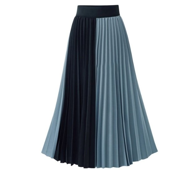 Skirts/Bottoms, Pre-Order, Nine Box, Blue Colorblock Pleated Skirt