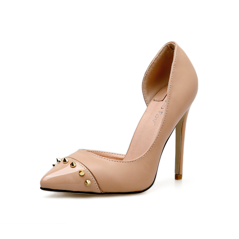 Shoes, Pre-Order, Nine Box, Nude Rivet Pumps