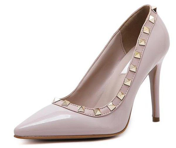 Shoes, Pre-Order, Nine Box, Nude Pumps with Gold Rivets