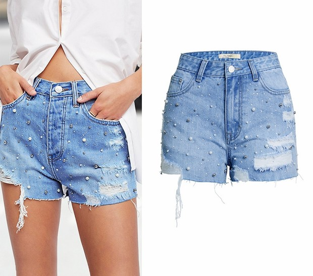 Skirts/Bottoms, Pre-Order, Nine Box, Beaded Distressed Denim Shorts