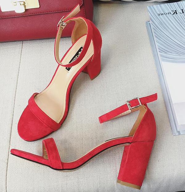 Shoes, Pre-Order, Nine Box, Red Suede Block Heels