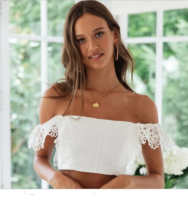 45dec3c05cb8d White Lace Off Shoulder Crop Top