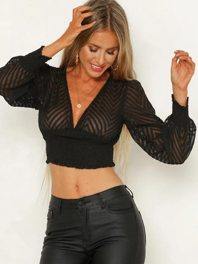 0f2c496139e0 Black Lantern Sleeve Crop Top