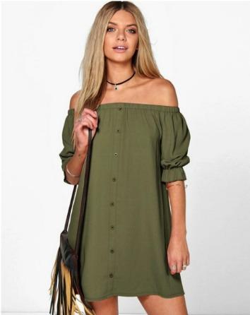 b3a3527f50 Casual Off Shoulder Dress- Olive Green
