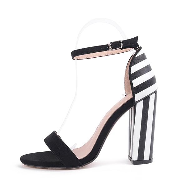 fb628a7a1c4a Cute Striped Block Heels- Black and White