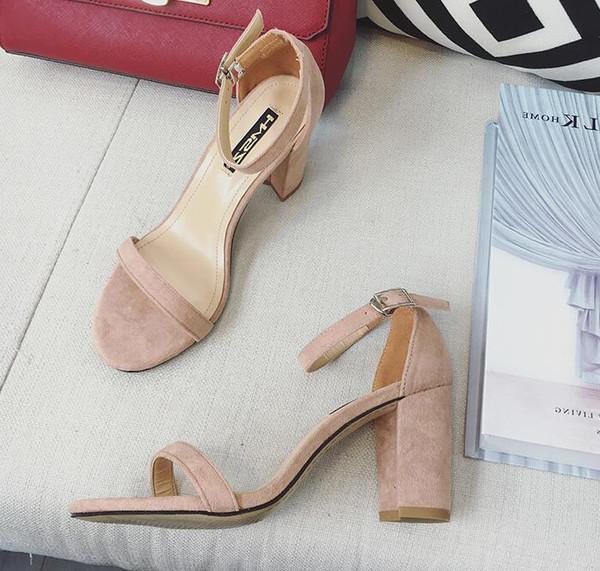 ddb1d23c46d Cute Block Heel Sandals- Nude