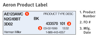 Herman Miller Product Label