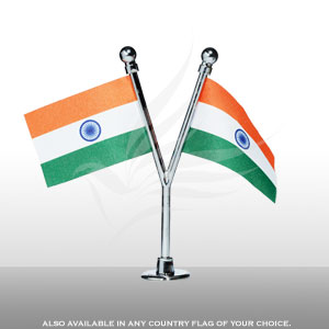 Inside the Car, Car and Bike Flags, Penguin Super Silk, Cross Car Dashboard Flag With A Nano Chrome-Plated Plastic Base