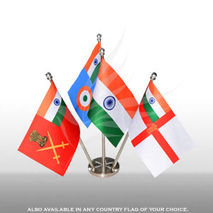 Group Flags, Miniature Flags, Penguin Super Silk, Indian Armed Forces Group Miniature Table Flag Set