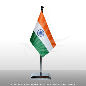 Single Flags, Miniature Flags, Penguin Super Silk, Miniature Table Flag With A Chrome-Plated Plastic Square Base