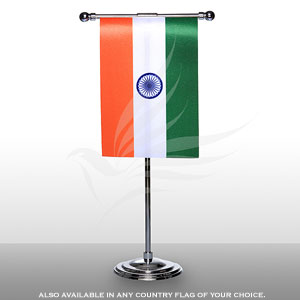 Single Flags, Miniature Flags, Penguin Super Silk, Miniature Table Flag With A T-shaped Staff & Chrome-Plated Base