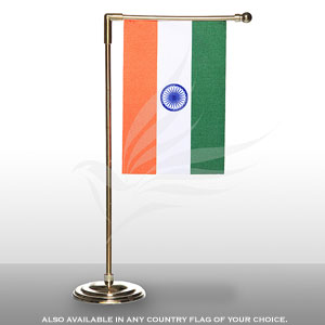 Single Flags, Miniature Flags, Penguin Super Silk, Miniature Table Flag With A L-shaped Staff & Gold-Plated Plastic Base